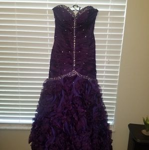Mori Lee Bling Purple Prom Dress SZ 10